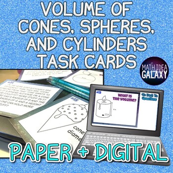 Volume of Cylinders Cones and Spheres Task Cards