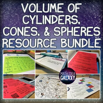 Volume of Cylinders Cones and Spheres Activities, Games, a