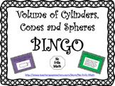 Volume of Cylinders, Cones and Spheres BINGO