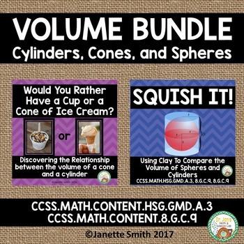 Volume of Cylinders, Cones, and Spheres Bundle