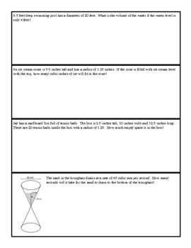 Volume of Cylinders, Cones and Spheres Guided Notes