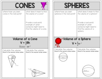 Volume of Cylinders, Cones and Spheres - Interactive Notes