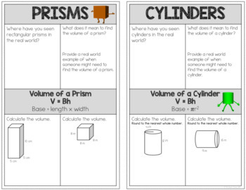 Volume of Cylinders, Cones & Spheres - Guided Notes