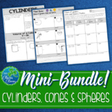 Volume of Cylinders, Cones and Spheres Mini Bundle