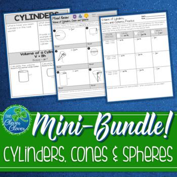 Volume of Cylinders, Cones and Spheres Mini Bundle