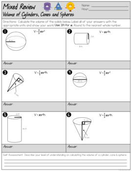 volume of cylinders cones and spheres mixed review worksheet tpt. Black Bedroom Furniture Sets. Home Design Ideas
