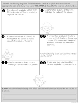 Volume of Cylinders, Cones and Spheres - Mixed Review Worksheet | TpT