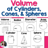 Volume of Cylinders, Cones, and Spheres Posters Set