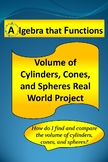 Math Project Volume of Cylinders, Cones, & Spheres Real Wo