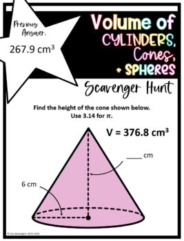 Volume of Cylinders, Cones, and Spheres (Scavenger Hunt)
