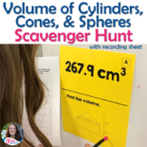 Volume of Cylinders, Cones, and Spheres Scavenger Hunt Activity