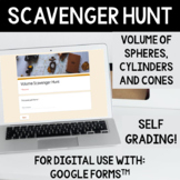 Volume of Cylinders, Cones and Spheres Scavenger Hunt Activity
