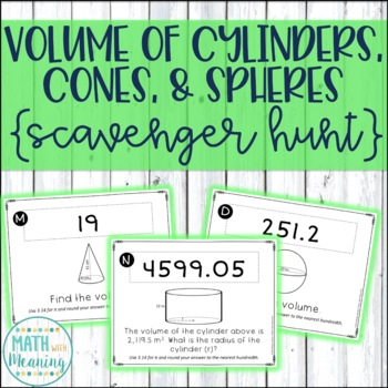 Volume of Cylinders, Cones, and Spheres Scavenger Hunt Activity - CCSS 8.G.C.9