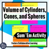 Volume of Cylinders, Cones, and Spheres Sum 'Em Activity