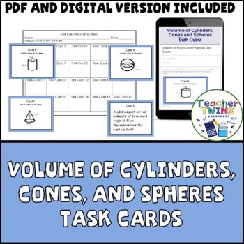 Volume of Cylinders, Cones, and Spheres Task Cards