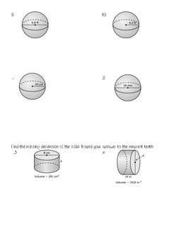 Volume of Cylinders, Cones, and Spheres Test