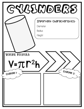 Volume of Cylinders Doodle Notes