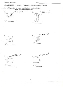 Volume of Cylinders - Finding Missing Factors
