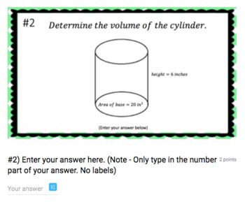 Volume of Cylinders - (Google Form & Video Lesson!)