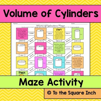 Volume of Cylinders Maze