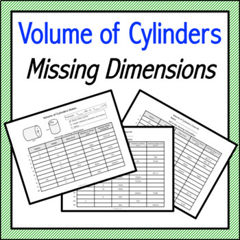 Volume of Cylinders Missing Dimensions Notes & Practice