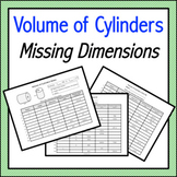 Volume of Cylinders Missing Dimensions Notes & Practice (Distance Learning)