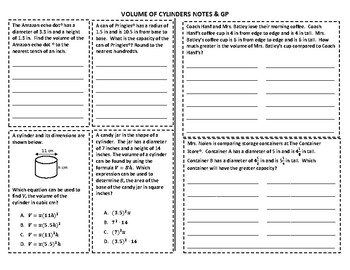 Volume of Cylinders Notes & GP