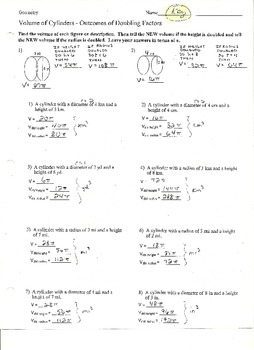Volume of Cylinders - Outcome of Doubling Factors