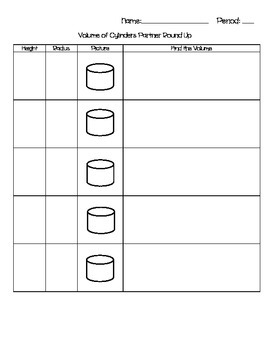 Volume of Cylinders Partner Round Up