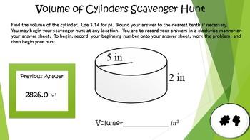 Volume of Cylinders Scavenger Hunt