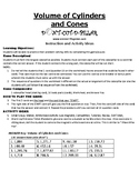 Volume of Cylinders and Cones Game Puzzle with Worksheet