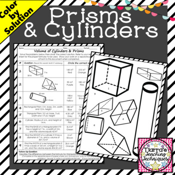 Volume of Cylinders and Prisms Color by Solution