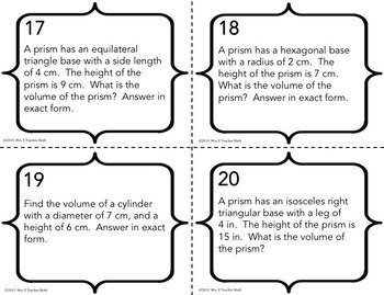 Volume of Cylinders and Prisms Task Cards