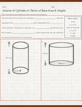 Volume of Cylinders in Terms of Base Area & Height