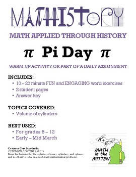Volume of Cylinders with Pies & Pizza for Pi Day