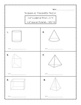 Volume of Geometric Shapes