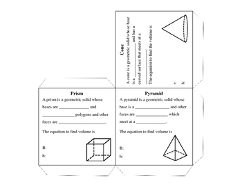 Volume of Geometric Solids Guided Notes Cube