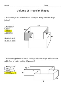 Volume of Irregular Shapes
