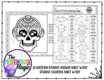 Volume Of Prisms Math Color By Number Or Quiz By The Morehouse Magic