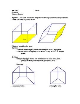 Volume of Prisms Handout