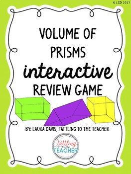 Volume of Prisms Interactive Tic-Tac-Toe Review Game FREEBIE!
