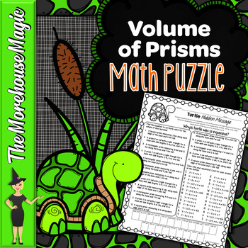 VOLUME OF PRISMS COMMON CORE MATH PUZZLE