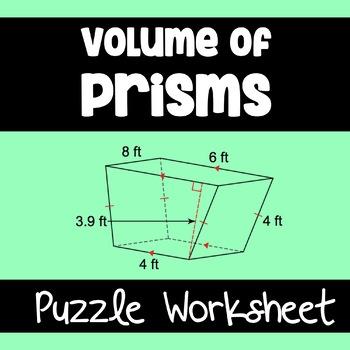 Volume of Prisms- Puzzle Worksheet