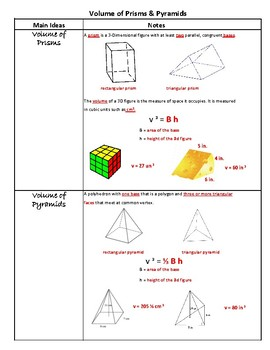 Volume of Prisms & Pyramids