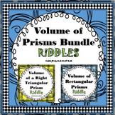 Finding Volume of Prisms RIDDLE Bundle Activity Worksheets