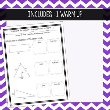 Volume of Prisms ~ Warm Up, Notes, & Homework