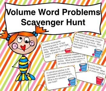 Volume Word Problem Scavenger Hunt