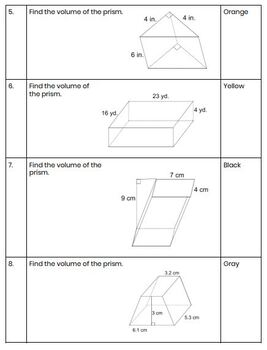 Volume of Prisms and Cylinders Activity - Coloring Sheet ...
