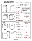 Volume of Prisms and Cylinders Flip n' Fold Notes