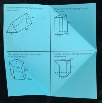 Volume of Prisms and Cylinders (Foldable)